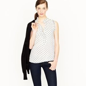 J. Crew Natasha Polka Dot Silk Blouse Pop Over